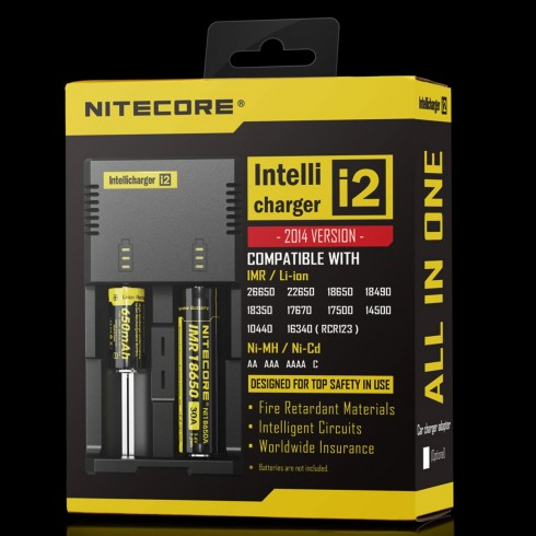 Nitecore I2 Intellicharge Universal Battery Charger, Compatible With IMR/Li-ion  18650 14500 AA AAA(Black)