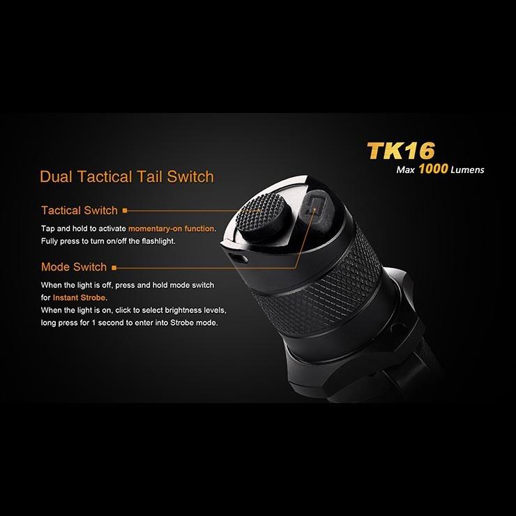 U2 LED Tactical Waterproof Flashlight Fenix TK16 1000 Lumens Cree XM-L 2