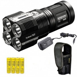 NITECORE TM28 6000 Lumens 716 Yards Super Bright Rechargeable LED Flashlight w/ 4x Nitecore IMR 18650s