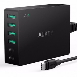 AUKEY Type-C 6-Port USB Travel Wall Charger with Quick Charge 3.0 USB-C Cable