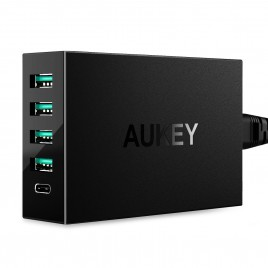 AUKEY 5 Ports Type C USB charger Quick Charge 3.0 for iPhone 7