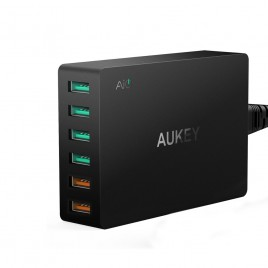 Aukey 6 Port Multi USB Fast Turbo Wall Charger Quick Charge 3.0 Charger