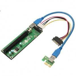 Nuovo PCI-E Express 1x A 16x Extender Scheda Alata Adattatore SATA Cavo USB 3.0