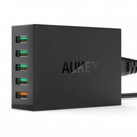 AUKEY 5 Port Micro USB Desktop Mobile Charger Station QC2.0 Wall Charging